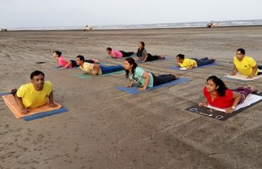 Bhujangasan at TTC, Asana session at Alibag by Nitin